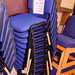 Blue fabric meeting chair stacking