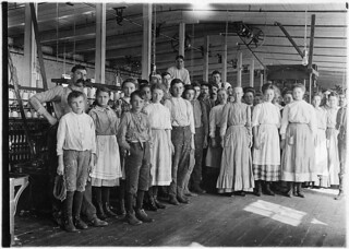 Noon hour at the Vivian Cotton Mills. Shows the character of the hands in a better class mill, --well ventilated and lighted, November 1908