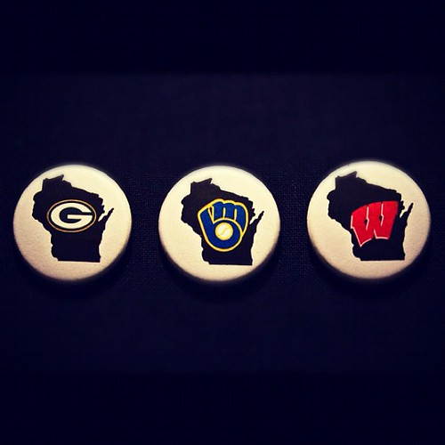 Wisconsin Pride button set | #wisconsin | #brewers | #packers | #badgers | http://t.co/f4W2JTBa | by jdraimer