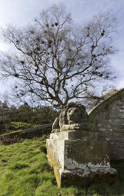 Guardian of the Monteath Douglas Mausoleum, Gersit Law, near Ancrum, Scottish Borders, UK