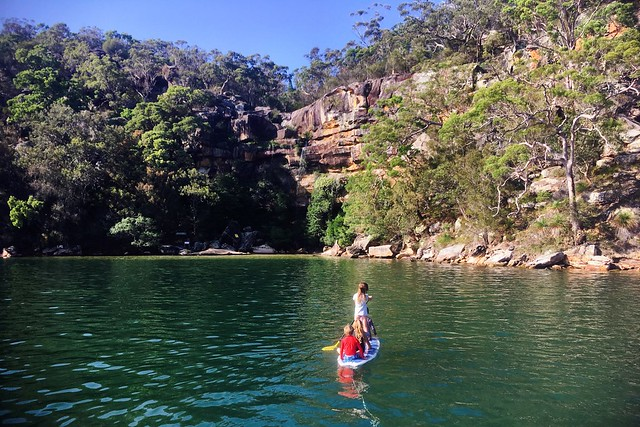 Boat kids on the way to the waterfall. Refuge Bay. Pittwater.