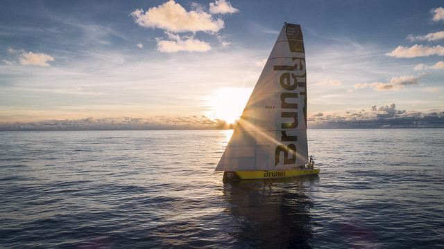 Leg 4, Melbourne to Hong Kong, day 07 on board Brunel. Sunrise. Drone. Doldrums. No wind. Photo by Yann Riou/Volvo Ocean Race. 09 January, 2018.