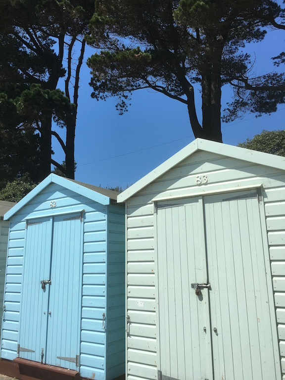 Beach huts Barton to Bournemouth walk