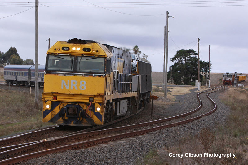 The Overland with NR8 with G532 waiting on the Portland Line by Corey Gibson
