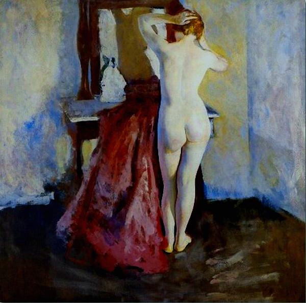 Hawthorne,  Charles Webster (American,  1872-1930)  - Nude before Mirror  - 1915