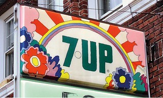 7Up UnCola hanging sign by John Alcorn (NOT Peter Max)