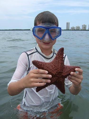 Ben with a cushion starfish