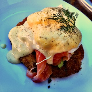 Poached eggs, salmon and avocado on hash with hollandaise at Found Off Chapel | by ultrakml