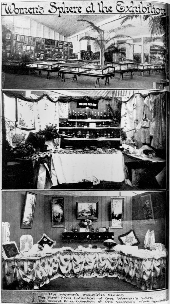 Three images from the Women's Industries section at the Brisbane Exhibition, 1912