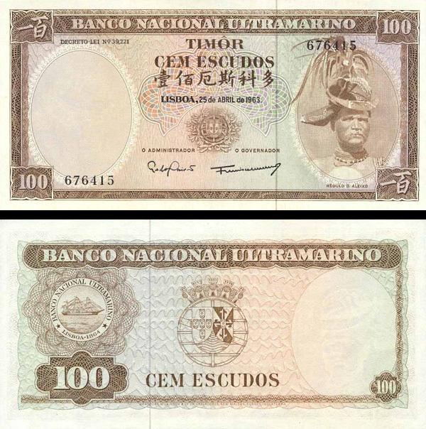 100 Escudos Timor 1963, P28a