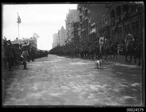 Australian Light Horse riding along Macquarie Street, Sydney | by Australian National Maritime Museum on The Commons