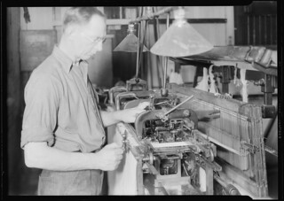Marber-Colman Automatic Warp tying machine. Knot tyer for warp. Ties 250 knots a minute. Can run up to 6000 warp threads. Operator tending-Fully Automatic, April 1937