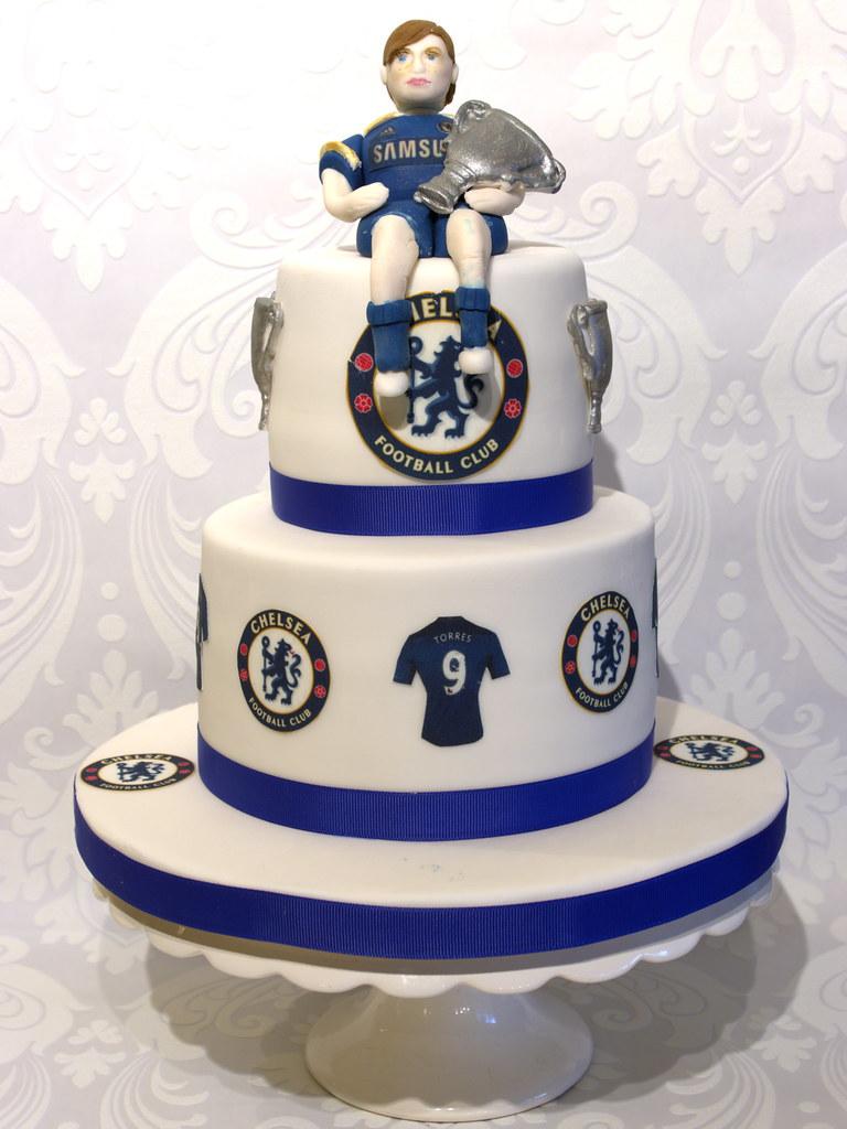 Super Chelsea Football Cake My Sons Birthday Cake Made Very Ver Flickr Personalised Birthday Cards Veneteletsinfo
