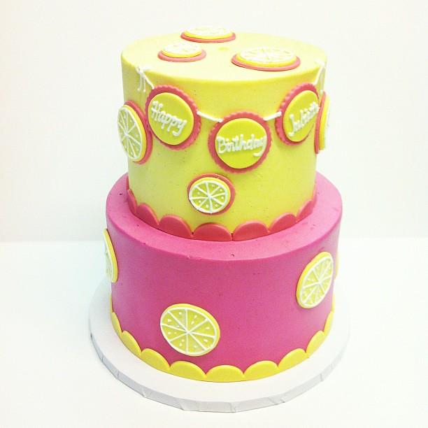 Groovy Pink Lemonade First Birthday Cake Polkadots Olga Flickr Funny Birthday Cards Online Drosicarndamsfinfo