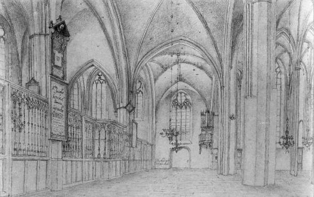 Jacobikerk interieur 1636. Coll. Het Utrechts Archief.