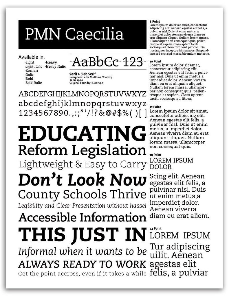 Caecilia - FONT SPECIMEN   Specimen sheet I designed for the…   Flickr