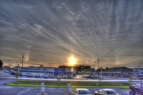 road blue sunset sky orange sun green cars colors car clouds rainbow nikon pennsylvania carwash pa handheld nikkor amateur telephonepole hdr highdynamicrange dealership greencastle d90 photomatix us11 route11 antrimway rte11 antrimwayhonda
