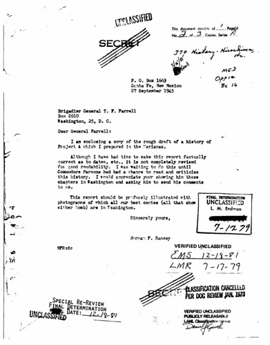 Rough draft of Norman Ramseys history of Project-A September 27 1945