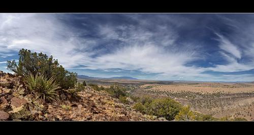 bw panorama newmexico santafe route66 plateau hills cerro mesa seguro santaferiver labajada lacieneguilla cajadelrio tetillapeak pre1932alignment
