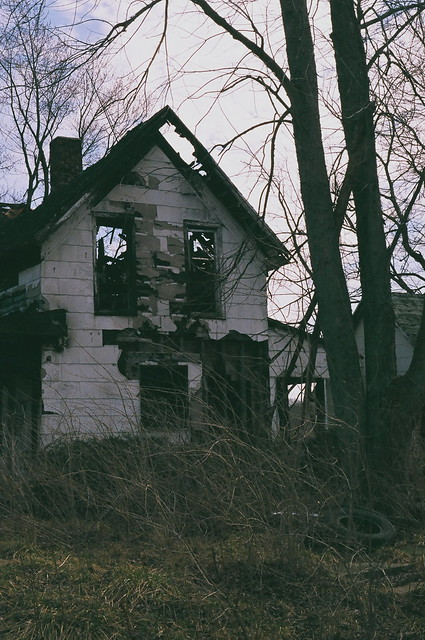 burned-out house