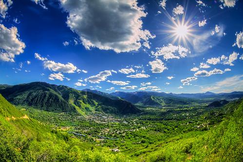 sunset sun mountains june clouds canon star colorado trails fisheye valley 7d co ajax aspen 12th smuggler 1740mm 2012 sunstar aspenmountain lookoutdeck tobyharriman