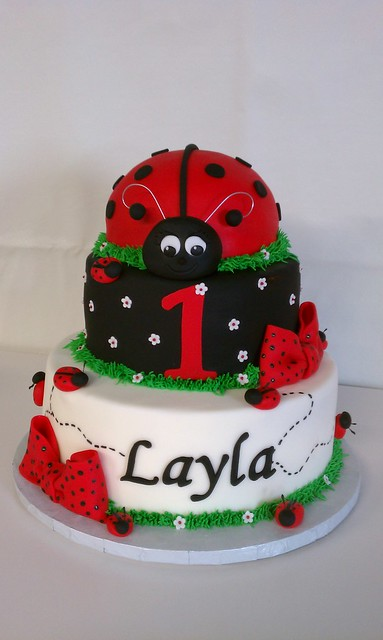 Layla's Ladybug First Birthday Cake