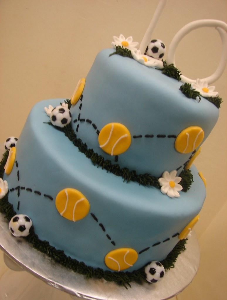Wondrous Tennis Soccer Birthday Cake Tennis And Soccer Birthday C Flickr Personalised Birthday Cards Paralily Jamesorg