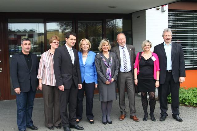 Die Leitung der Caritas Behindertenwerke mit Hannelore Kraft, Eva-Maria Voigt-Küppers und Bürgermeister Arno Nelles