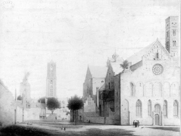 Zicht op Mariaplaats en de Mariakerk naar een tekening van Pieter Saenredam uit 1636. Coll. Het Utrechts Archief.