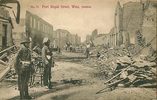 'Port Royal Street, West, Jamaica.' Jamaican Earthquake, 1907. Postcard.