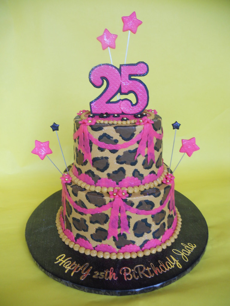 Admirable Hot Pink And Leopard Birthday Cake Amy Stella Flickr Funny Birthday Cards Online Overcheapnameinfo