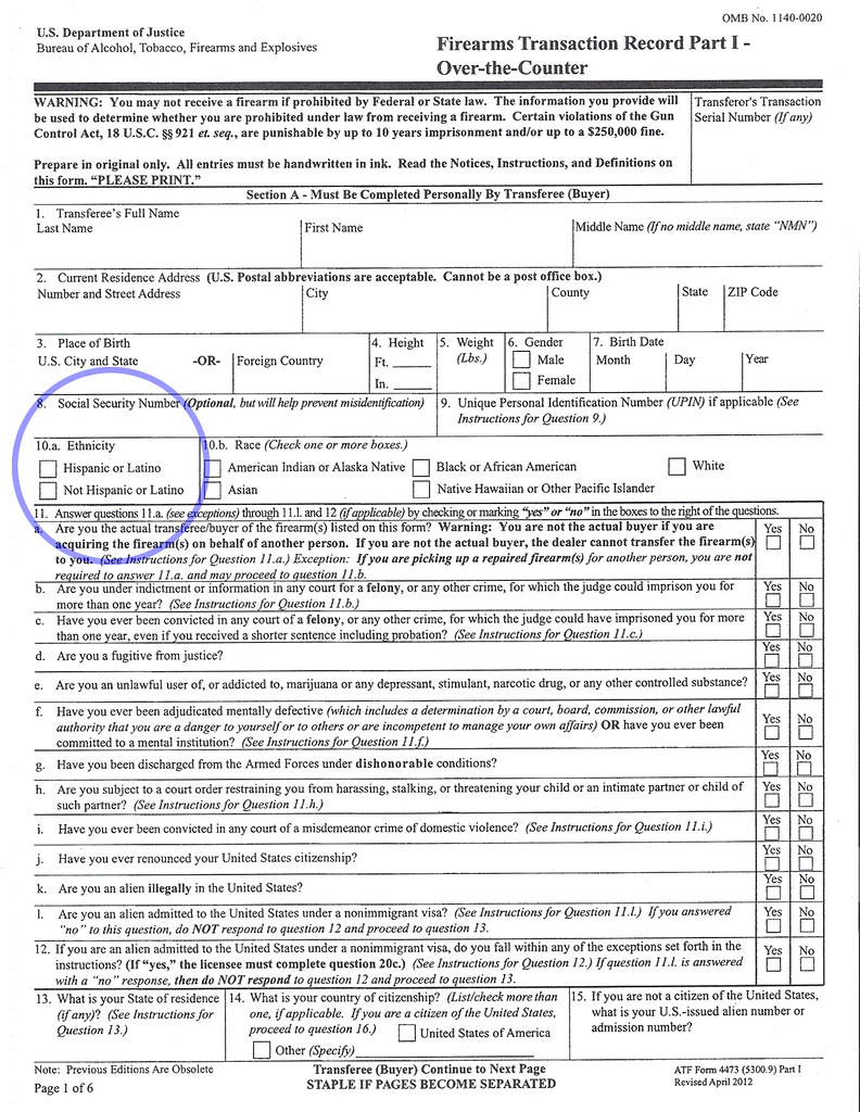 "form 4473 current address  New ATF Form 13 ""Not Hispanic or Latino"" 