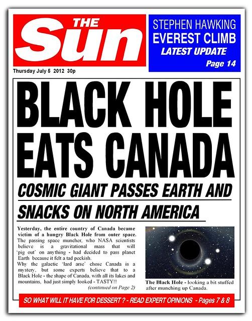 Black Hole news headline