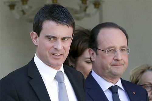圖11.法國總統奥朗德(左)和總理瓦尔斯。(