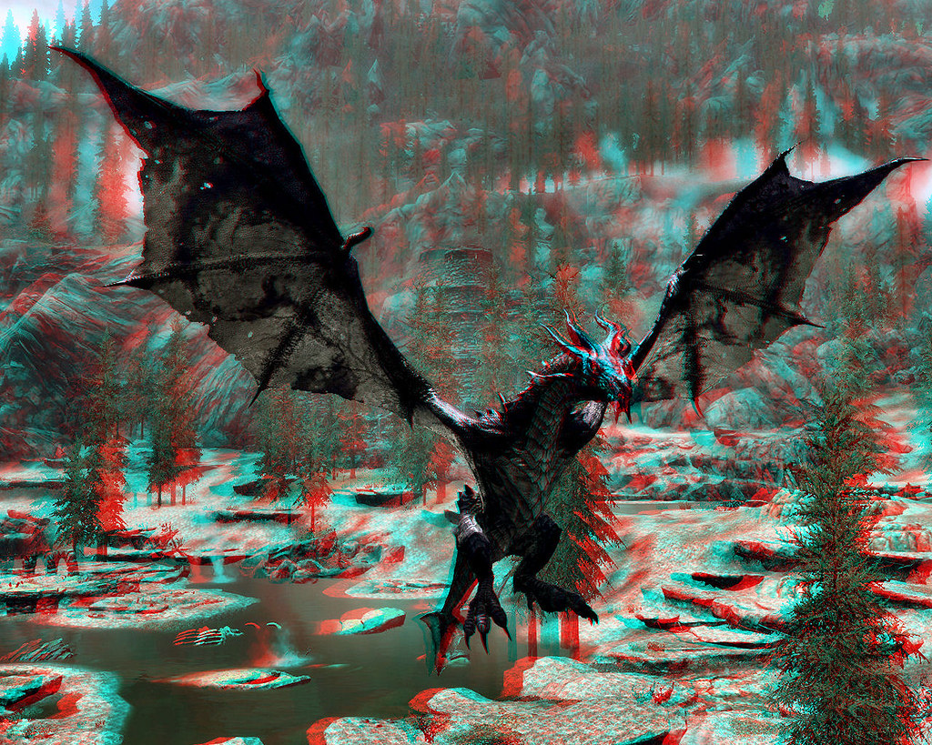 Skyrim Imagery - Monster Mod Frost Dragon 3D (Anaglyph) | Flickr