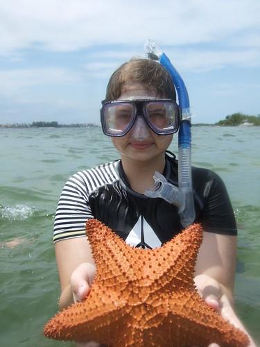 Sarah with a cushion starfish