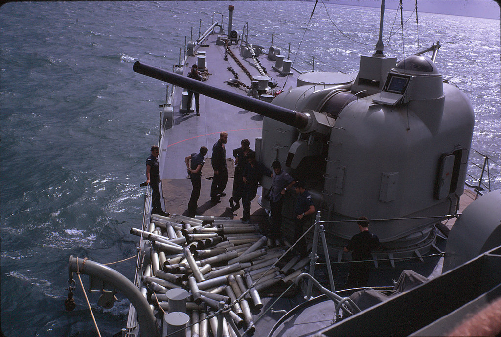 WITH THE RAN IN SE ASIA: break in a firing assignment on HMAS BRISBANE [II], Vietnam 1971 - Bob Westthorp.
