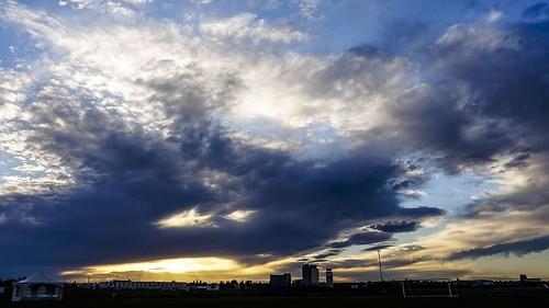 sunset evening cloud clouds edmonton alberta canada september city urban blue dramatic