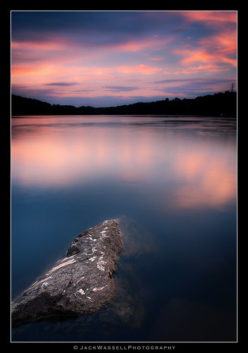 pink blue sunset sky lake color water rock clouds pretty calm serene jackwassell quakerhillwaterfordct