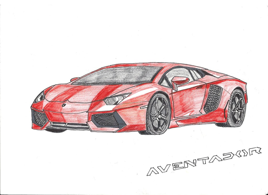 Lamborghini Aventador Lp700 4 Drawing I Combined Two Of My Flickr