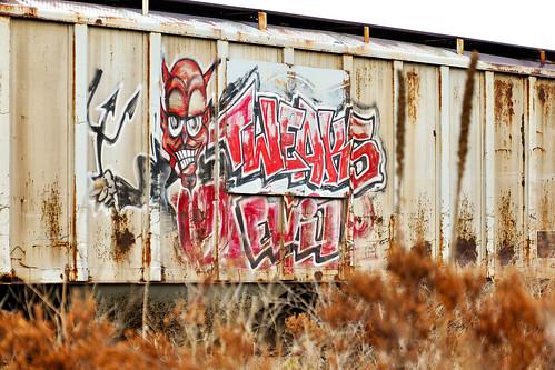 railroad streetart train graffiti washington dof bokeh evil rr fork depthoffield tweak satan devil wa tweaks kettlefalls eviltweaks