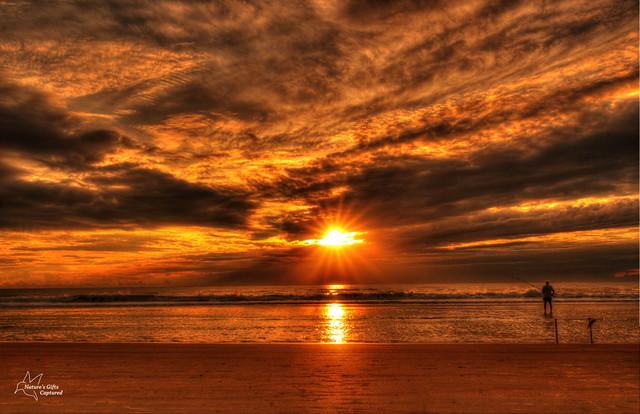 Warm Cloudy Sunrise &  ♥ Dad fishing ♥