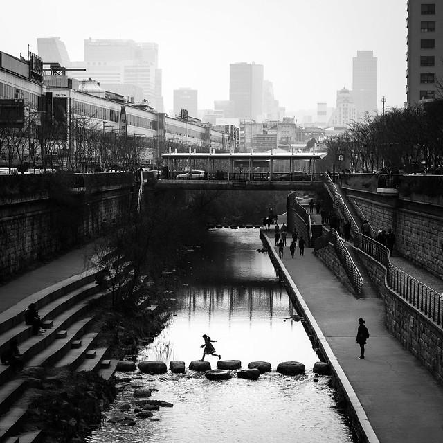 Jump - Seoul, South Korea - Black and white street photography