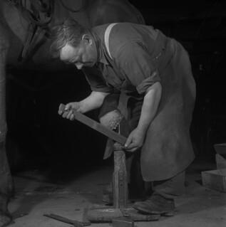 Harper Rennick putting a horseshoe on a horse, Shawville, Quebec / Harper Rennick plaçant un fer sur un cheval, Shawville (Québec) | by BiblioArchives / LibraryArchives