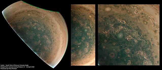 Jupiter's South Pole Minimum Emission Angle from Junocam