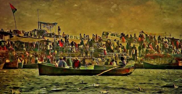 INDIEN, india,  heilige Pilgerstadt Allahabad - sangam, am Strand, 14314/7179