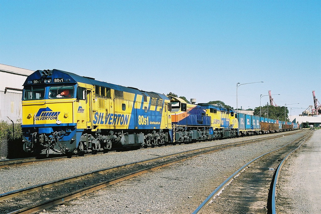 Silverton's container train. (scan) by Robert Cook