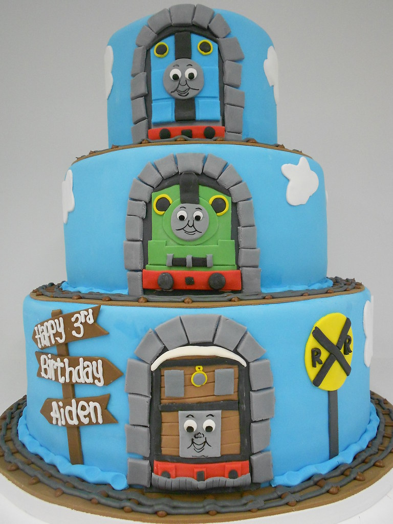 Super Thomas And Friends Birthday Cake 1092 3 Tier Thomas And Flickr Funny Birthday Cards Online Overcheapnameinfo