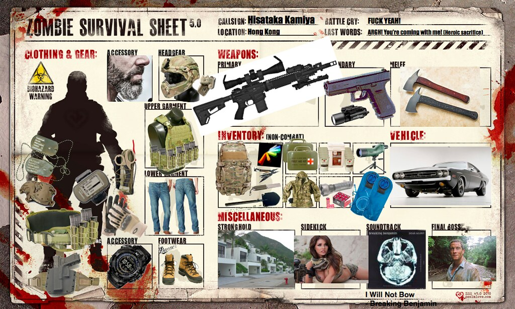 My Zombie Survival Sheet | This is my zombie apocalypse surv