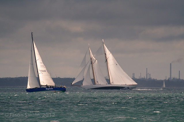 Racing past Fawley - Round the Island Race 2012